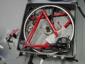 Traveling bicycle in transport case